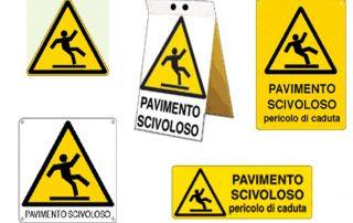 Cartelli rischio scivolamento